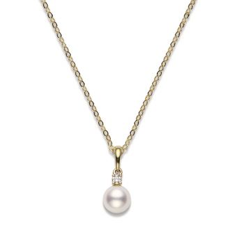 Akoya Cultured Pearl and Diamond Pendant – 18K Yellow Gold