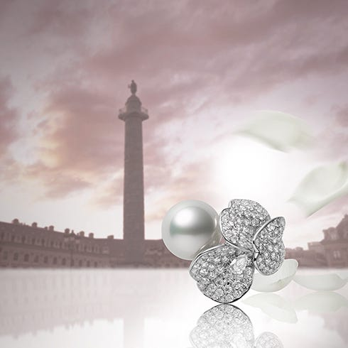Rose petals that float in the air and then descend onto the Place Vendôme